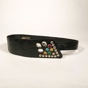 Cool Asymmetrical Vintage 80's Leather Belt